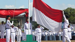 A flag raising ceremony of the Indonesian national flag in Jakarta