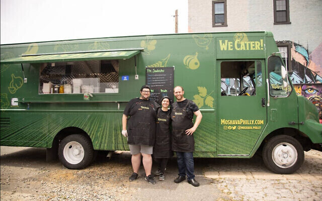 Moshava Philly owners and staff outside their truck in Philadelphia