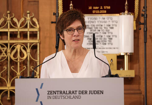 German Defense Minister Annegret Kramp-Karrenbauer speaks during the ceremony to inaugurate Rabbi Zsolt Balla as the first federal rabbi of the Bundeswehr, Germany's armed forces, at the main synagogue on June 21, 2021 in Leipzig, Germany