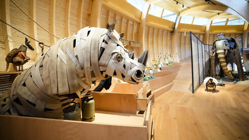 Animals that are made out of recycled material are on display at the interactive exhibit about the story of Noah's Ark, at the Jewish Museum in Berlin,