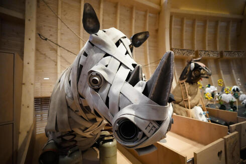 Animals that are made out of recycled material are on display at the interactive exhibit about the story of Noah's Ark, at the Jewish Museum in Berlin