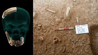 Left: Fossil remains of skull and jaw found at Nesher Ramla; the dig site at Nesher Ramle
