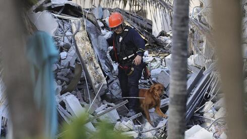 Fire rescue personnel conduct a search and rescue with dogs through the rubble of the Champlain Towers South Condo