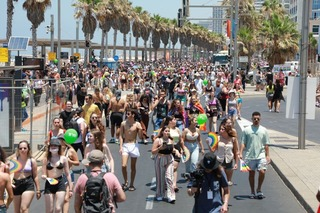 Thousands marching through Tel Aviv as part of the city's Gay Pride Parade