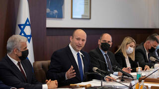 Prime Minister Naftali Bennett during weekly cabinet meeting on Sunday