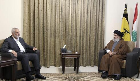 Hezbollah leader Sayyed Hassan Nasrallah, right, meets with Ismail Haniyeh, leader of the Palestinian Hamas movement, in Beirut, Lebanon.