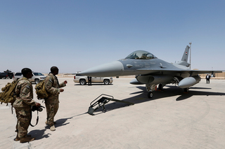 U.S. soldiers at ceremony to deliver F-16 fighter jet United States, at a base in Balad, Iraq