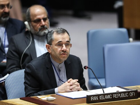 Iran UN envoy Majid Takht Ravanchi speaking at the security council last year