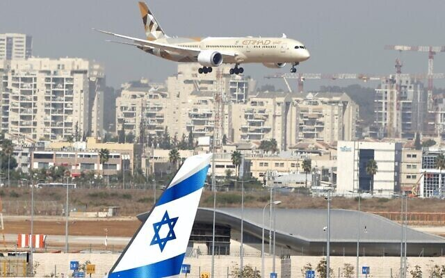 An Etihad Airways plane carrying a delegation from the United Arab Emirates on a first official visit lands at Israel's Ben Gurion Airport near Tel Aviv, on October 20, 2020