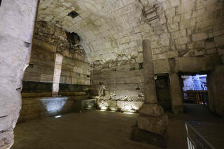 parts of a Second Temple period (516 BC-AD 70) public building, considered to be one of the most luxurious found to date, as they are unveiled by the Israel Antiquities Authority in Jerusalem