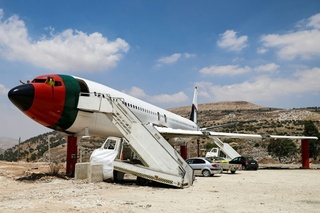 """The decommissioned Boeing 707 aircraft that has been converted into """"The Palestinian-Jordanian Airline Restaurant and Coffee Shop Al-Sairafi Nablus"""""""