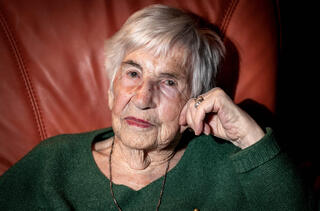 Esther Bejarano, survivor of the Holocaust and of the Women's Orchestra of Auschwitz, is pictured during an interview at her flat in Hamburg in 2019