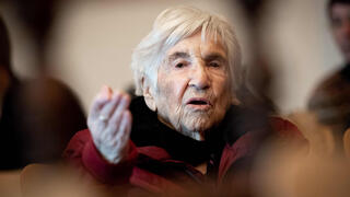 Holocaust survivor Esther Bejarano attends a session of a trial against former SS guard Bruno Dey (not pictured) at a court in Hamburg