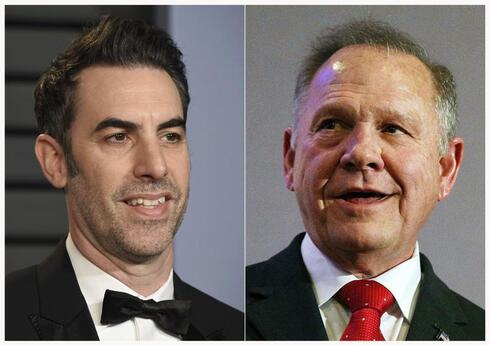actor-comedian Sacha Baron Cohen at the Vanity Fair Oscar Party in Beverly Hills, Calif. on March 4, 2018, left, and former Alabama Chief Justice and then U.S. Senate candidate Roy Moore