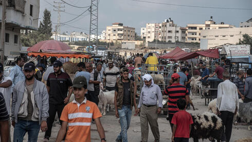 Vendors wait for customers as people look to buy sheep at a livestock market in preparation for the upcoming Muslim Eid al-Adha holiday on July 16, 2021 in Gaza City