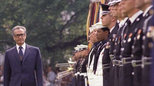President Gerald R. Ford and Shah Mohammad Reza Pahlavi of Iran Reviewing Troops on the South Lawn