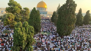 Tens of thousands of worshippers gather at Jerusalem's Al-Aqsa Mosque complex for Eid al-Adha
