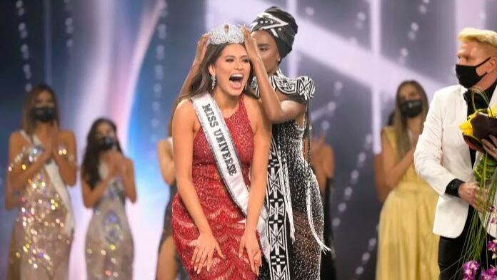 Miss Universe Mexico 2020 Andrea Meza reacts as she is crowned Miss Universe