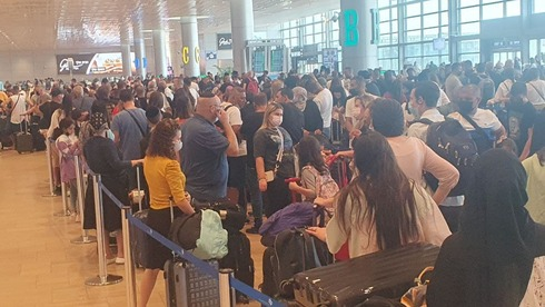 Israeli crowds at Ben-Gurion Airport before flying abroad on Tuesday (Photo: Barel Ephraim)