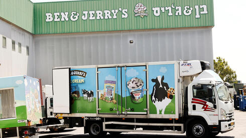 A Ben & Jerry's ice-cream delivery truck is seen at their factory in Be'er Tuvia, Israel July 20, 2021