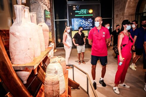 The Tourism Ministry hosts a tour of ancient Caesarea for a group from Barcelona football club, July 19, 2021