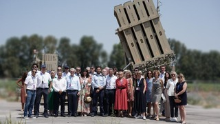 Members of the French National Assembly and Senate visit an Iron Dome missile defense battery in southern Israel, July 19, 2021
