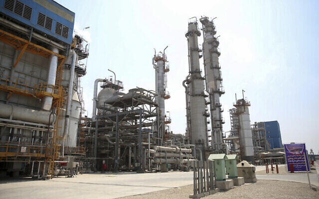 An Iranian petrochemical facility on the northern coast of the Persian Gulf