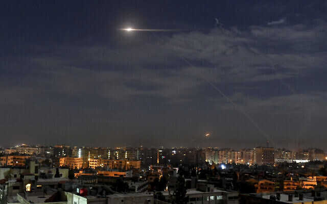 missiles flying into the sky near international airport, in Damascus, Syria on Jan. 21, 2019