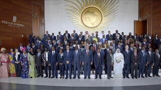 African heads of states pose for a group photo during the opening ceremony of an African Union session in Addis Ababa, Ethiopia