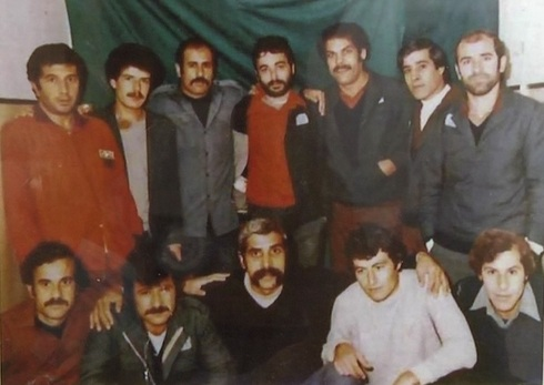 Prisoners at Junaid Prison, near Nablus, in the West Bank, 1984. Hussein Al-Sheikh is in the top row, 2nd R. Palestinian leader Jibril Rajoub is in the same row, 3rd L.
