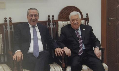 Minister Hussein Al-Sheikh with Palestinian Authority President Mahmoud Abbas