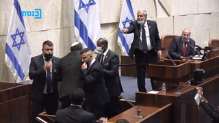 Itamar Ben-Gvir being forcefully evicted from the plenum while being reprimanded by Speaker Mickey Levy