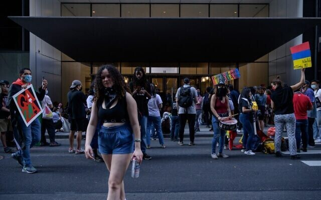Illustrative: Protesters attend a Palestine solidarity rally against board members of the Museum of Modern Art (MOMA) whom they accuse of supporting Israeli military efforts, outside MoMA in Manhattan, New York on May 21, 2021