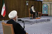 Iranian Supreme Leader Ayatollah Ali Khamenei speaking to a cabinet meeting in Tehran on Wednesday while outgoing president Hassan Rouhani looks on