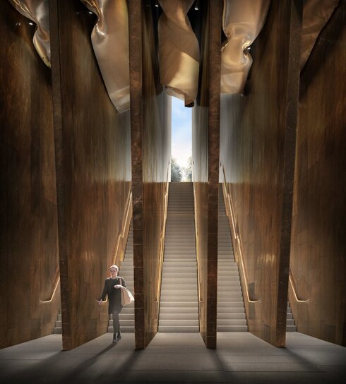 An artist's impression showing the entrance of the proposed Holocaust Memorial and Learning Centre in London