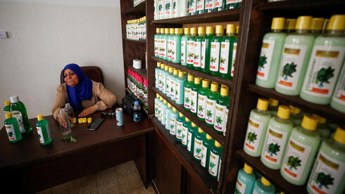 Refqa Al-Hamalawi, chairman of the board of the Najd Development Forum sits in her office in Gaza