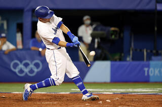 Ian Kinsler #3 of Team Israel bats in the fifth inning against Team United States during the baseball opening round Group B game on day seven of the Tokyo 2020 Olympic