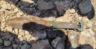 One of the two unexploded bazooka rounds discovered at Ammunition Hill in Jerusalem