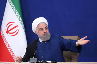 Outgoing Iranian President Hassan Rouhani speaking at his final cabinet meeting on Sunday in Tehran