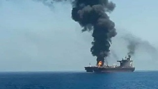 The Israeli operated Mercer Street oil tanker after it came under an attack attributed to Iran in the Gulf of Oman, earlier this month