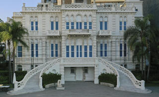 The facade of the Sursock Museum was reconstructed after it was decimated in a massive explosion last August in Beirut port