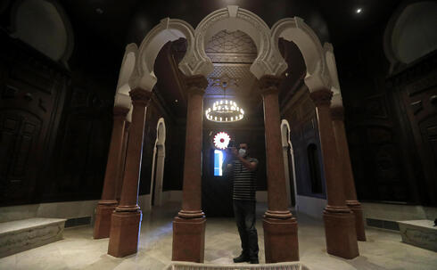 one of the reconstructed halls at the Sursock Museum that was damaged from the massive explosion in the nearby Beirut port, in Beirut