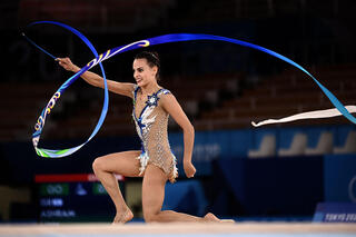 Gymnast Linoy Ashram during her ribbon routine at the Tokyo 2020 Olympic Games