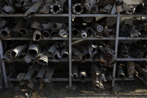 Remains of rockets, fired from the Gaza Strip which have landed in southern Israel, are displayed at the police station in Sderot, Israel, Tuesday, July 20, 2021