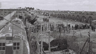 Jewish refugees preparing to leave a British camp in Cyprus on February 10, 1949