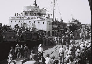 Haganah ship Jewish State anchored in Haifa port before being deported to Cyprus on October 30, 1947