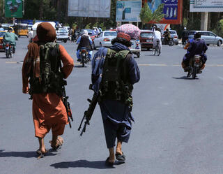 Taliban fighters in the captured city of Herat