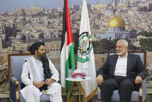 Hamas' Ismail Haniyeh meeting a delegation from the Taliban after the May conflict against Israel