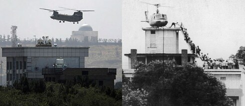 Left: A U.S. Chinook helicopter flies over the American embassy in Kabul, August 15, 2021; right: A CIA officer helps evacuees up a ladder onto an Air America helicopter leaving Saigon as the city fell, April 29, 1975