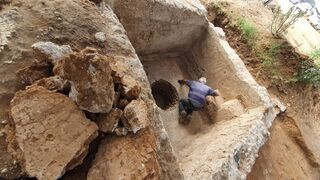 An ancient winepress discovered during Israel Antiquities Authority excavations in Ramat Hasharon